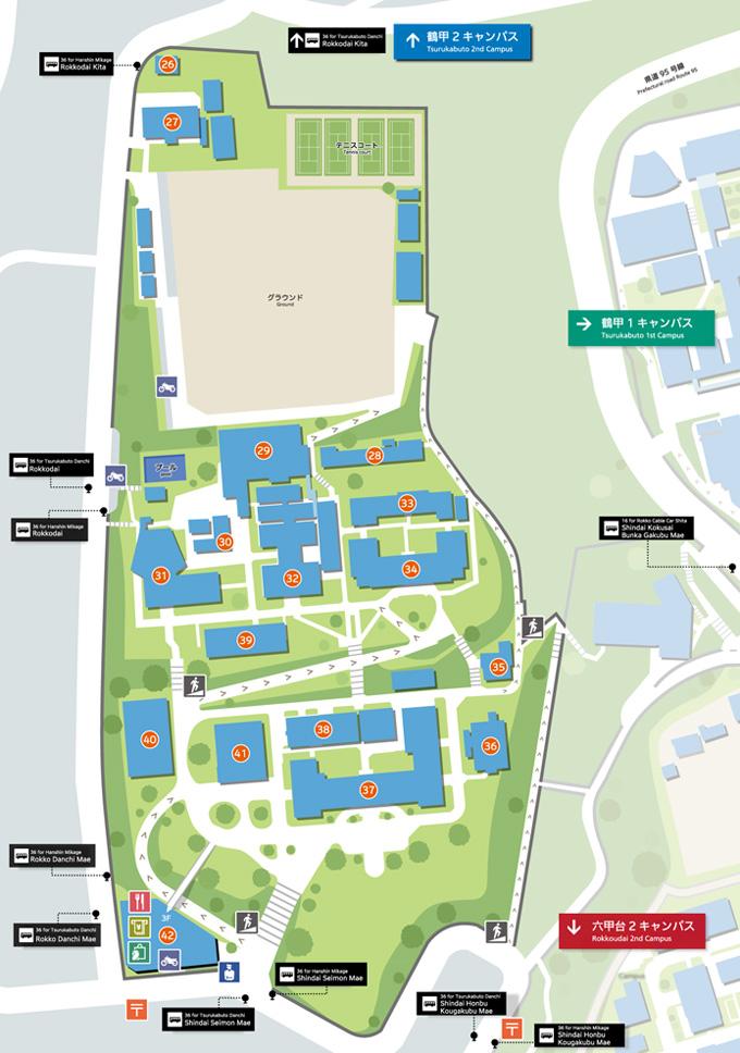 Ku Med Campus Map.Rokkodai 1st Campus Kobe University