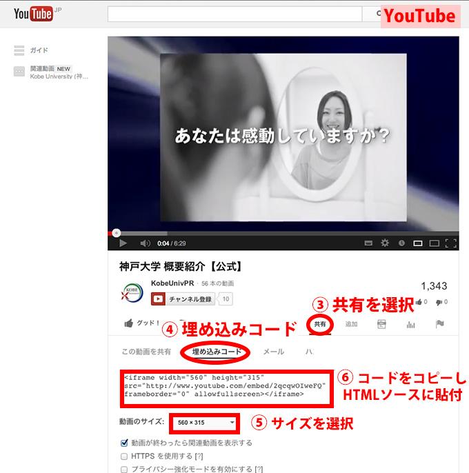 YouTubeサイト】 3: 〔共有〕を選択する 4: 〔埋め